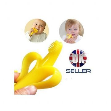 ORIGINAL SAFE BABY TEETHER TEETHING RING BANANA SILICONE TOOTHBRUSH UK SELLER